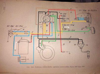 Jawa 250 559 Panelka – Schéma zapojení